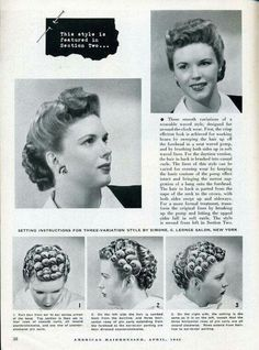 Hairstyle setting diagram and finished look from 1943.