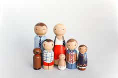 This listing is for a custom wooden peg family of 7 hand painted to look just like the your unique family! Wooden dolls are a great conversation piece or for play! Large dolls are 3.5 inches tall. Painted with acrylic and sealed with non-toxic varnish. Dont forget about furry family
