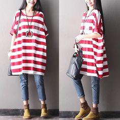 Red white stripe dress women clothes Causel long dress