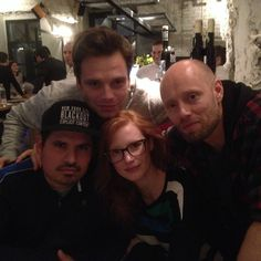 SEB WITH THE CAST OF THE MARTIAN MOVIE (I AM SO PUMPED FOR THIS MOVIE THE BOOK IS SO GOOD AAAAAAAAH)