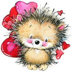 День святого Валентина. милый еж и красное сердце. фон для карты — стоковое изображение #60964037