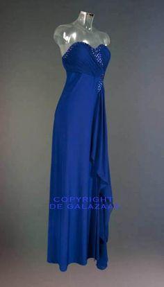 Kobaltblauwe strapless galajurk 2473