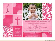 1st birthday and christeningbaptism invitation sample baptism shabby chic baptism birthday invitation has a custom scrapbook style with patterned blocks stopboris Images