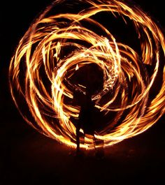 Fire. Spinning poi.