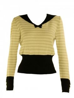 Sonia Rykiel ~ Very 1930s. the slimmed down sailor collar - the tiny bow, the black trim. ❤