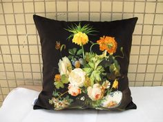 Elegant square velvet pillow cushion cover Classic by WhooplaArt