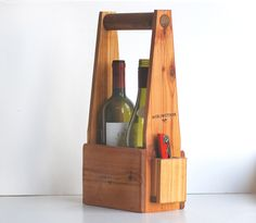 Handcrafted Two Bottle Wine Carrier.