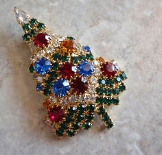 Christmas Tree Pin Brooch Eisenberg Ice Vintage