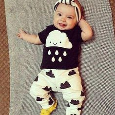 Cute Newborn Baby Boys Girls Toddler Kids Print T-shirt Tops + Pants Outfit 2PCS Clothes Set