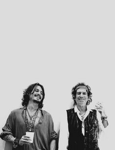 """Me with Johnny Depp at the Pirates Of The Caribbean photo shoot for Rolling Stone. Johnny asked me if I minded him using me as a model for Jack Sparrow. All I taught him was how to walk around a corner when you're drunk – never moving your back away from the wall"" ― Keith Richards. © Jane Rose, 2006."