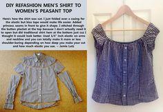 diy clothes refashion repurpose mens shirt to womens peasant top #sewing #refashion #repurpose #diy