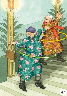 This says to me 'Keep the inner child and don't join those who pretend to be adults. They've lost the true happiness' | Inge Löök, artist and former gardener from Finland who illustrate old grannies love and joy of life.