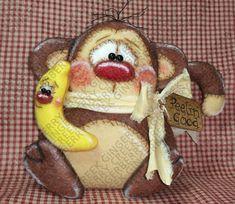 E-Pattern - Peelin' Good Banana with Coco Monkey Pattern #212 - Primitive Doll E-Pattern