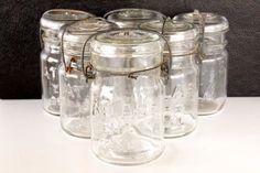 Vintage Atlas E Z Seal Clear Glass Pint Size Mason by ThirdShift, $58.00