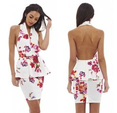 11 Cute & Sexy AxParis Summer Dresses Under $35: Cute and sexy halter white summer dress with red floral print, peplum detail, sexy deep V-neck and opne back by AxParis