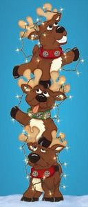 Christmas Tangled Trio Of Reindeer With Lights Wood Outdoor Yard Art/lawn…