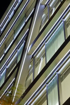 Octavio Mestre, Jordi Miralles · Offices building in Barcelona Facade Lighting, Strip Lighting, Strip Led, Barcelona, Blinds, Stairs, Building, Office Buildings, Projects