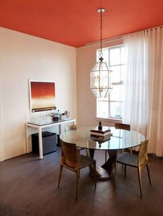 What color? color the ceiling if you want to keep white walls - need high ceilings Dark Ceiling, Colored Ceiling, Ceiling Color, Accent Ceiling, Floor Ceiling, Neutral Walls, White Walls, Murs Oranges, Color Quiz