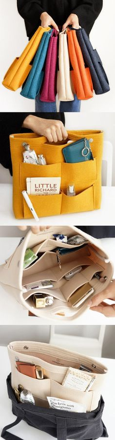 Pocket in pocket felt casual travel multi-pocket storage bag liner pak . - Bag in pocket felt casual travel multi-pocket storage bag liner package cosmetic bag - Sewing Hacks, Sewing Crafts, Sewing Projects, Bag In Bag, Tote Bag, Diy Bags Purses, Diy Couture, Bag Packaging, Craft Storage