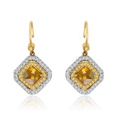 """Show your style with natural Yellow #slicediamond dangle #earrings in 18k gold from #VIVAAN """"Shapes"""" Collection"""