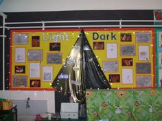 Light and Dark Display - Display for Light and Dark with a cross-curricular theme. Includes light and dark coloured material with wow words on, work based on bonfire night and fairy lights. Primary Science, Science Curriculum, Science Resources, Teaching Science, Classroom Door, Classroom Displays, Classroom Ideas, First Day Of School, Pre School