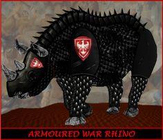 War rhino in dark armour. Used to kill enemy war elephants and rhinoceros.