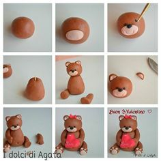 How to make a fondant teddy bearTutorial - how to make cute Teddy bear fondant cake topper for cakes, cupcakes, birthday party, christening, baptismTutorial de osito con pastas moldeables Delicious Cake for youFimo y fondantThis is made from sugar but I w Fondant Figures, Fondant Cake Toppers, Fondant Bow, Fondant Cupcakes, Cupcake Toppers, Cake Topper Tutorial, Fondant Tutorial, Cake Decorating Techniques, Cake Decorating Tutorials