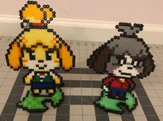 Custom Animal Crossing Isabelle & Digby Perler Sprites Stand or Necklace - Nintendo Pokemon Perler Beads, 3d Perler Bead, Perler Bead Templates, Pearler Bead Patterns, Perler Patterns, Minecraft Beads, Minecraft Pattern, Pearl Beads Pattern, Anime Pixel Art