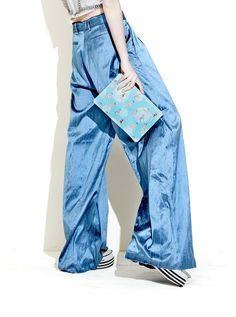 202Factory pin-up girl leather clutch - blue, worn with Marques'Almeida blue wide-legged raw silk trousers