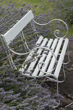 Bench in Farrow & Ball's Mizzle Exterior Eggshell - love this colour for the garden