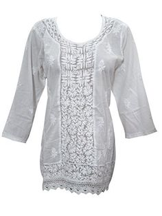 Womens Indian Tunic Blouse White Cotton Embroidered Short Kurti Medium -- Learn more by visiting the image link.