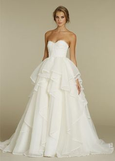 Bridal Gowns: Hayley Paige Princess/Ball Gown Wedding Dress with Sweetheart Neckline and Natural Waist Waistline Wedding Dress Empire, Bridal Gowns, Wedding Gowns, Organza Bridal, Silk Organza, Wedding Cake, Lace Wedding, Hayley Paige Bridal, Princess Ball Gowns