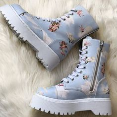 ☁️Walking on Clouds☁️ Capsule Wardrobe, Combat Boots, Sock Shoes, Cute Shoes, Me Too Shoes, Shoes Heels, Shoe Boots, Aesthetic Clothes, Aesthetic Shoes