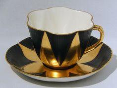 Rare SHELLEY DAINTY Shape CUP & SAUCER GOLD & BLACK HARLEQUIN Pattern MINT  | eBay
