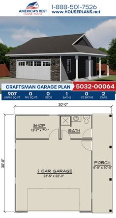 Complete with 907 sq. ft., Plan 5032-00064 details a Craftsman style with a workshop, a bathroom, and a porch. #craftsman #garage #garageplans #architecture #houseplans #housedesign #homedesign #homedesigns #architecturalplans #newconstruction #floorplans #dreamhome #dreamhouseplans #abhouseplans #besthouseplans #newhome #newhouse #homesweethome #buildingahome #buildahome #residentialplans #residentialhome