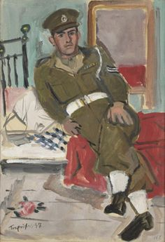 Yannis Tsarouchis / Policeman sitting on a bed and a rose on the floor Athens, Oil on cloth, x cm (Greek painter Saatchi Gallery, Van Gogh Museum, Mary Cassatt, John Singer Sargent, Edgar Degas, Painter Artist, Artist Art, Henri Matisse, Claude Monet
