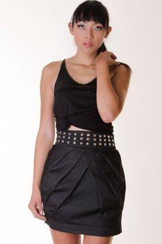 #kiwilook.com             #Skirt                    #BLACK #STUDDED #PLEATED #SKIRT #KiwiLook #fashion  BLACK STUDDED PLEATED SKIRT @ KiwiLook fashion                                http://www.seapai.com/product.aspx?PID=878012