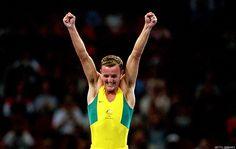 Ji Wallace of Australia celebrates in Sydney in 2000 after winning silver in the Men's Trampoline.