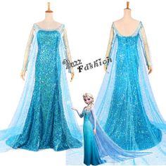 Halloween costume!! Adult Deluxe Dress Disney Movies Frozen Snow Queen Elsa Fancy Cosplay Costume