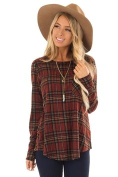 a36367b24dc9 Burgundy and Marigold Plaid Top with Chest Pocket front close up Boutique  Shirts