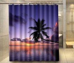 Beach Ocean Islands Palm Tree night custom Shower Curtain Waterproof Fabric Shower Curtain for Bathroom Beach Shower Curtains, Cheap Shower Curtains, Kids Curtains, Custom Shower Curtains, Bathroom Curtains, Fabric Shower Curtains, Curtain Shop, Diy Home Decor, Room Decor