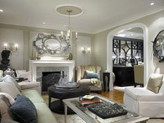 Michael: Candice Olson - Divine Design - Traditional living room, ceiling paint is BM Cloud White