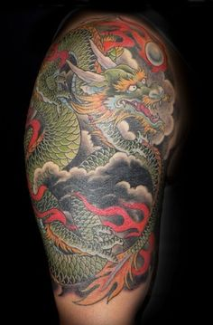 Japanese dragon half sleeve by Andrea at Slave to the Needle in Seattle WA