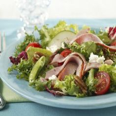 When you want a different way to use leftover ham, try this salad.  Also good for a light lunch on the patio.