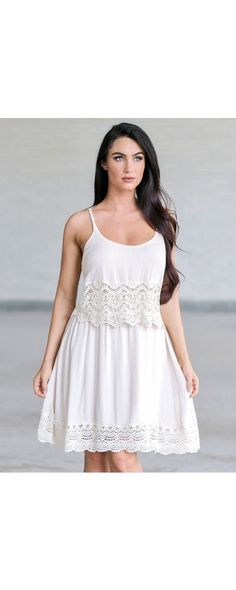 Show off your bohemian vibe in this beautiful dress! The Boho Beauty Crochet Trim Dress is fully lined. It has a tiered layer at the bust with a thick band of crochet lace trim. Boho Summer Outfits, Boho Outfits, Dress Outfits, Casual Outfits, Dress Summer, Junior Summer Dresses, Formal Dresses For Teens, Grad Dresses, Cute Country Dresses
