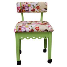Arrow Gingerbread Sewing Chair with Storage - Green   208-929 has a matching sewing table    needs arms but yummy