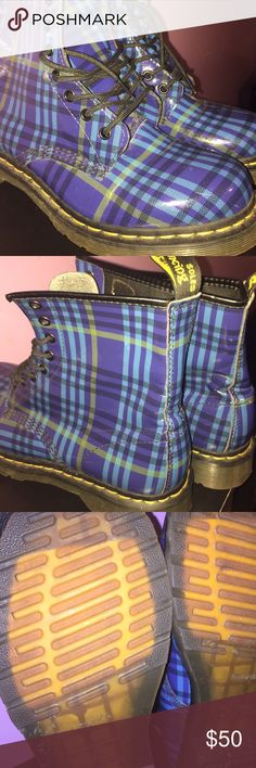 Blue Plaid Dr. Martens Blue plaid. The original Dr. Martens. Rubber boot. Gum bottom. Great condition. Light weight boot. Air cushion sole. Dr. Martens Shoes Winter & Rain Boots