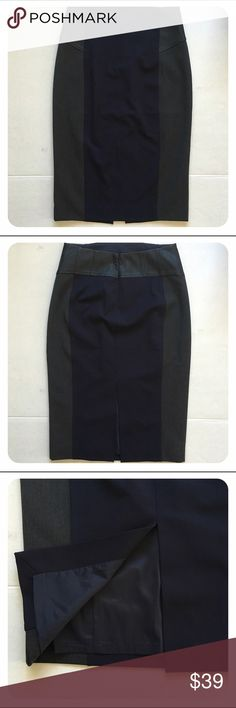 """Express Color Block Pencil Skirt (NWOT) Express super sharp skirt. Navy blue panels in the middle and gray on the sides. Black faux leather at the waist. Very well made. Brand new, never worn before. Trying to loose a few ponds so the waist fits better on me. Unfortunately, it may not happen soon😭. A great skirt will go wonderfully with knee high boots and perfect for fall. 13"""" waist, 18"""" hip, 25.5"""" long. Express Skirts Pencil"""