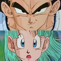 Bulma and Vegeta Dbz, Goku, Samurai Flamenco, Afro Samurai, Dragon Ball Z, Mini Comic, Gurren Lagann, Cute Anime Couples, Kawaii