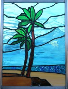 50e80ce77d346a Easy palm trees by beach Stained Glass Flowers